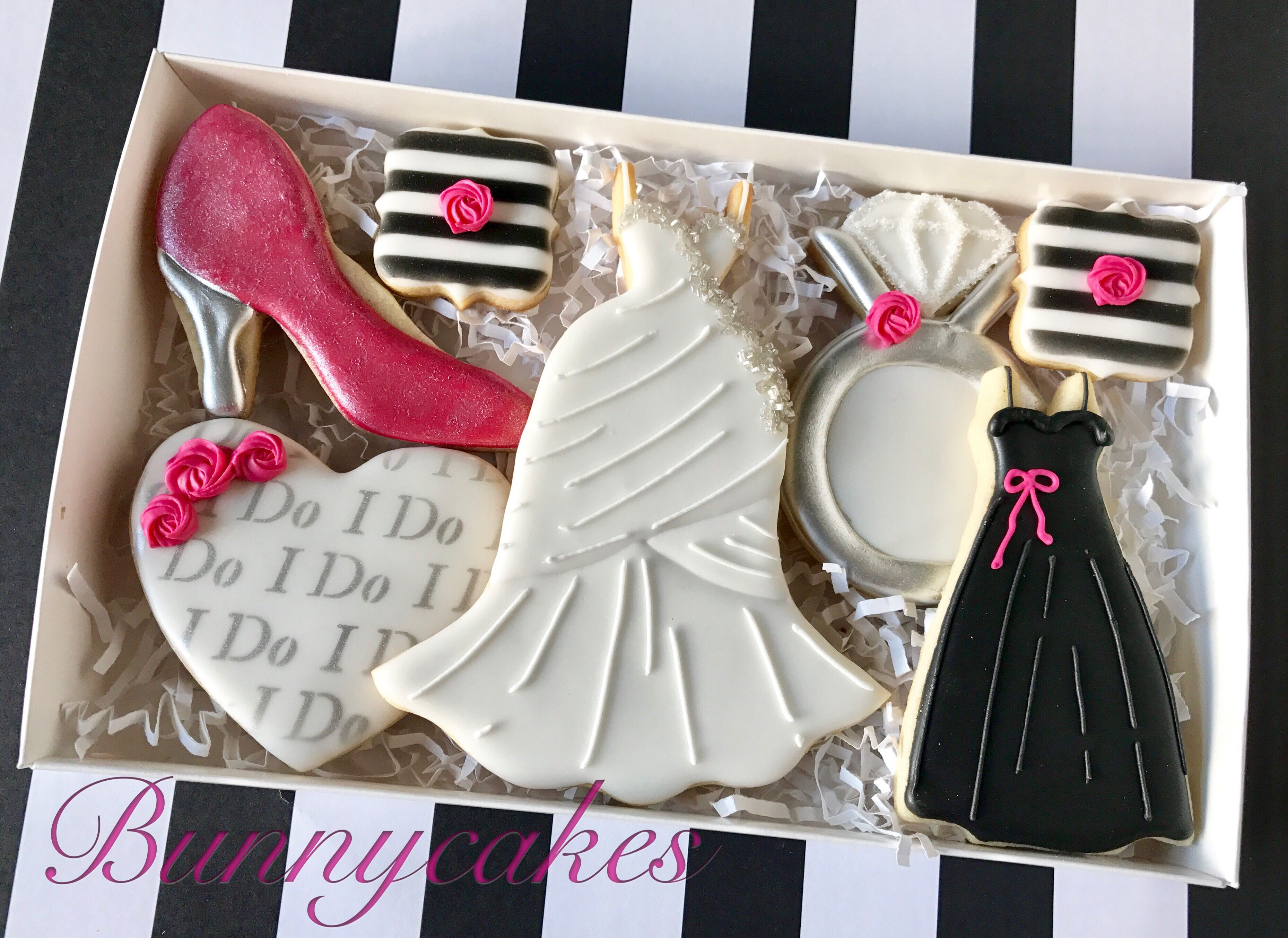 Pink, black and white custom decorated wedding Bridal shower sugar ...