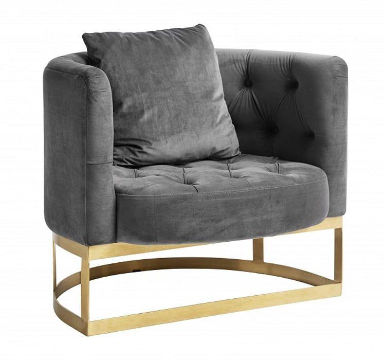 Samt Sessel Industriedesign Grau Minimalistische Wohnzimmer Von Matz Mobel Minimalistisch In 2020 Samt Sessel Sessel Grau Und Lounge Sessel