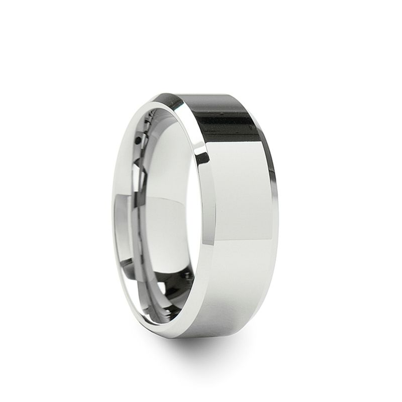 Lincoln White Tungsten Wedding Band With Beveled Edges 4mm 12mm Tungsten Wedding Bands Diamond Tungsten Wedding Bands White Tungsten Ring