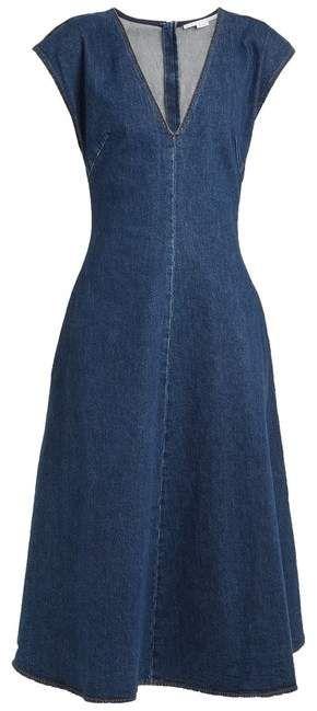 f4ab726633b Ella V Neck Fluted Denim Dress - Womens - Dark Denim  seasons shifting dress