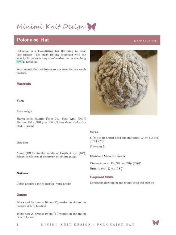 283dd04c6c5 Knitting Pattern  Polonaise Hat pattern PDF cable knit hat