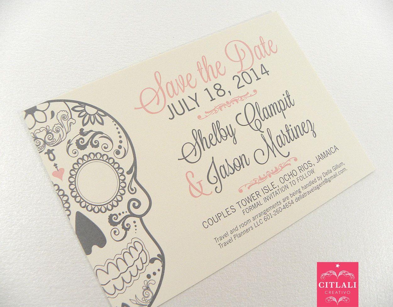 sugar skull wedding skull wedding invitations Sugar skull Save the Date Day of the Dead Wedding Announcement in Pink Gray