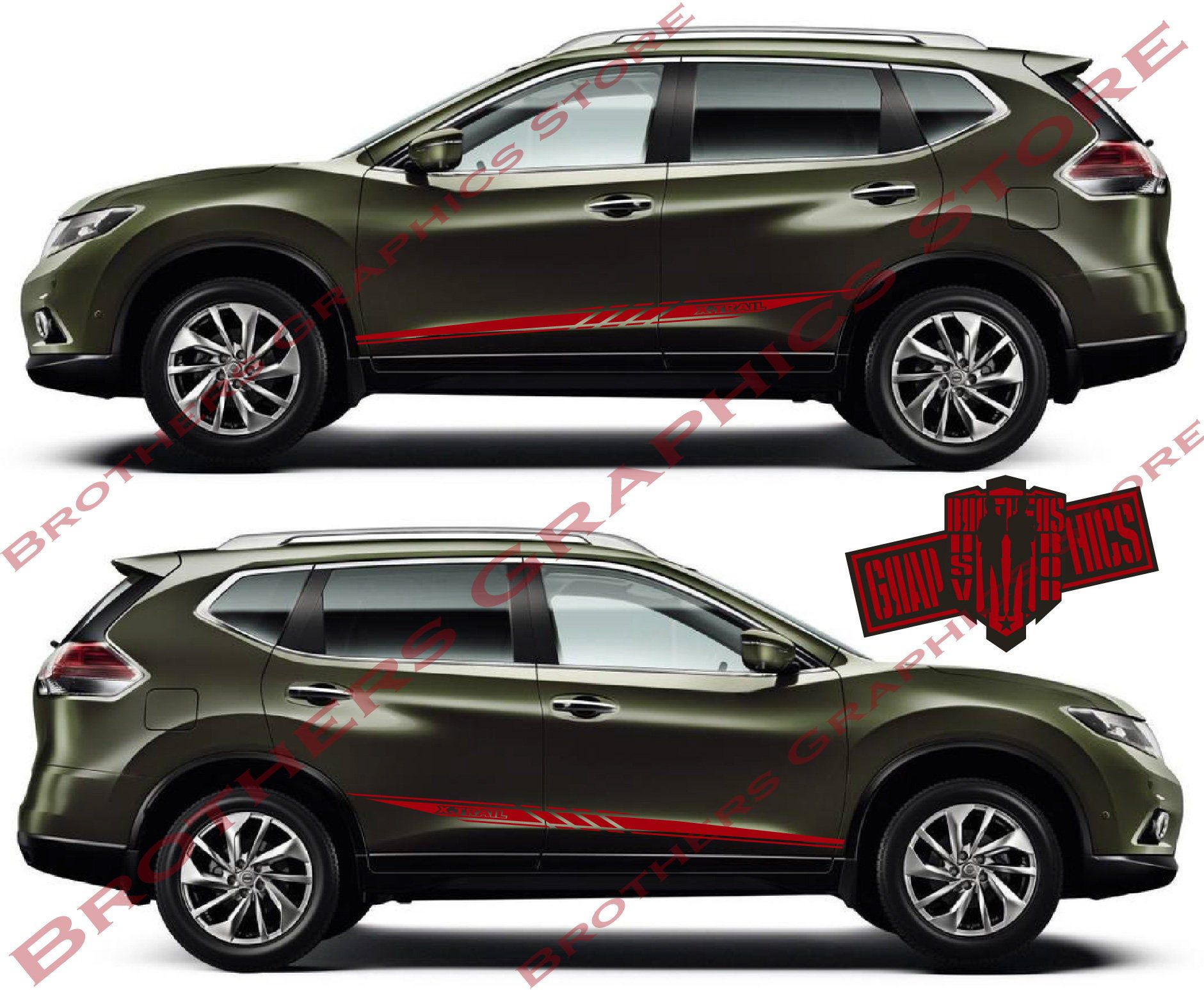 2X Set Of Stickers Decal For Nissan X-Trail Stripe Body Kit Sport Side Door Sticker Sport Design 2X Set of Stickers Decal for Nissan X-Trail Stripe body kit Sport Side door sticker sport design Black Things nissan x trail black color