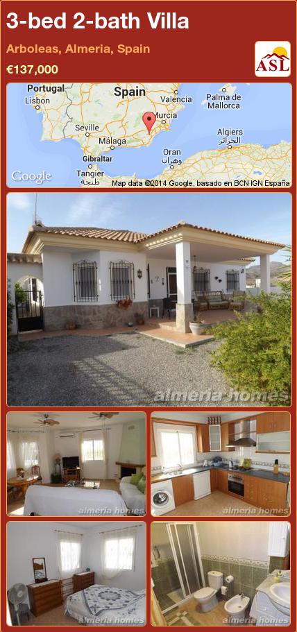 3-bed 2-bath Villa in Arboleas, Almeria, Spain ►€137,000 #PropertyForSaleInSpain