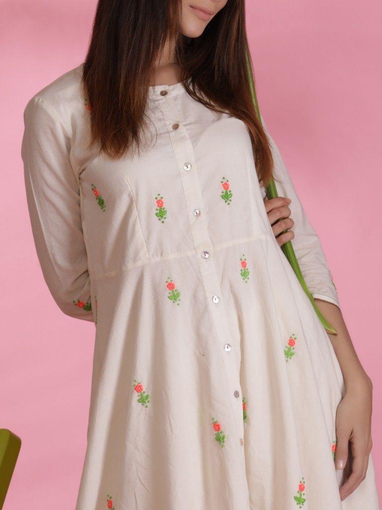 White Hand Embroidered Cotton Mul Flared Kurta With Culottes Set Of 2 Kurta Designs Women Cotton Dress Summer Casual Embroidery Fashion,Machine Design Magazine