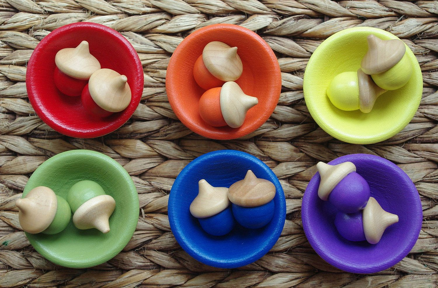 Acorn Sorting Game Waldorf Counting And Color Learning