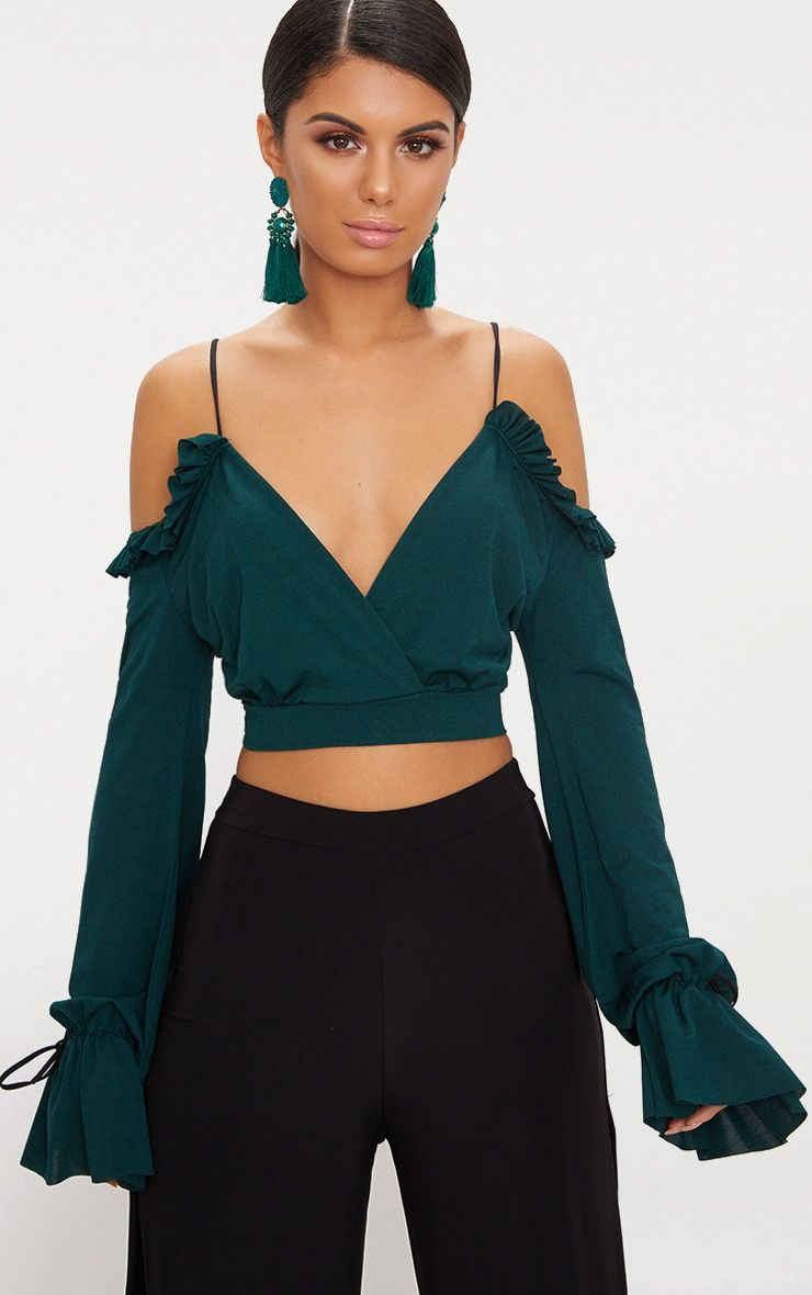 635b9868d95d8 Emerald Green Slinky Spaghetti Strap Cold Shoulder Crop Top
