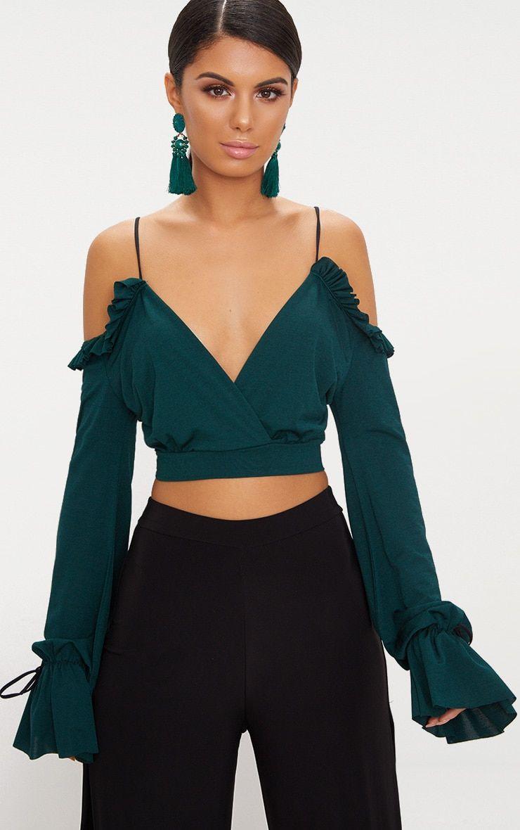 6e97573c7d Emerald Green Slinky Spaghetti Strap Cold Shoulder Crop Top