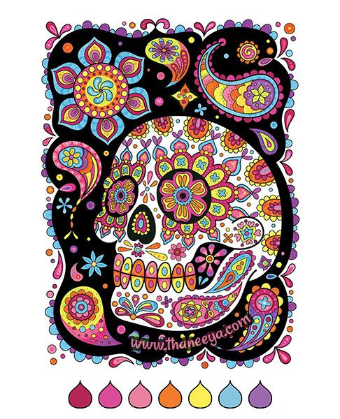 - Sugar Skull Coloring Page From Thaneeya McArdle's Sugar Skulls Coloring Book  Skull Coloring Pages, Coloring Books, Quirky Art