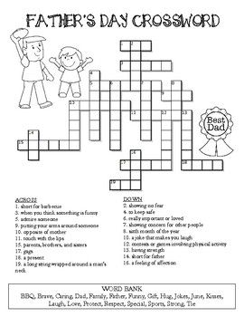 Father S Day Crossword Puzzle Fathers Day Crossword Father S Day Activities