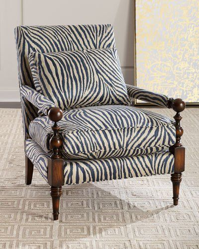 John Richard Collection Zebra Transitional Style Arm Chair
