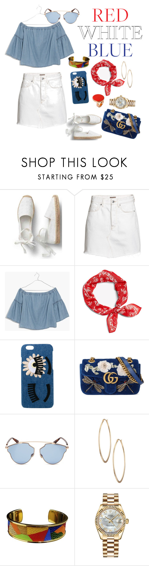 """Red white blue contest 🎉"" by eshly995 ❤ liked on Polyvore featuring Madewell, Chiara Ferragni, Gucci, Christian Dior, Lydell NYC, Hermès, Rolex and STELLA McCARTNEY"