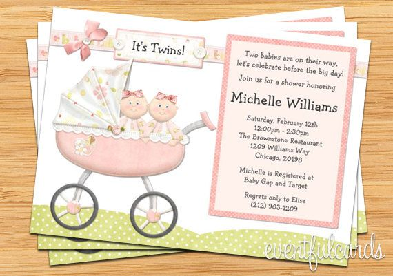 Twin Girls Baby Shower Invitation Pregnancy Pinterest Baby