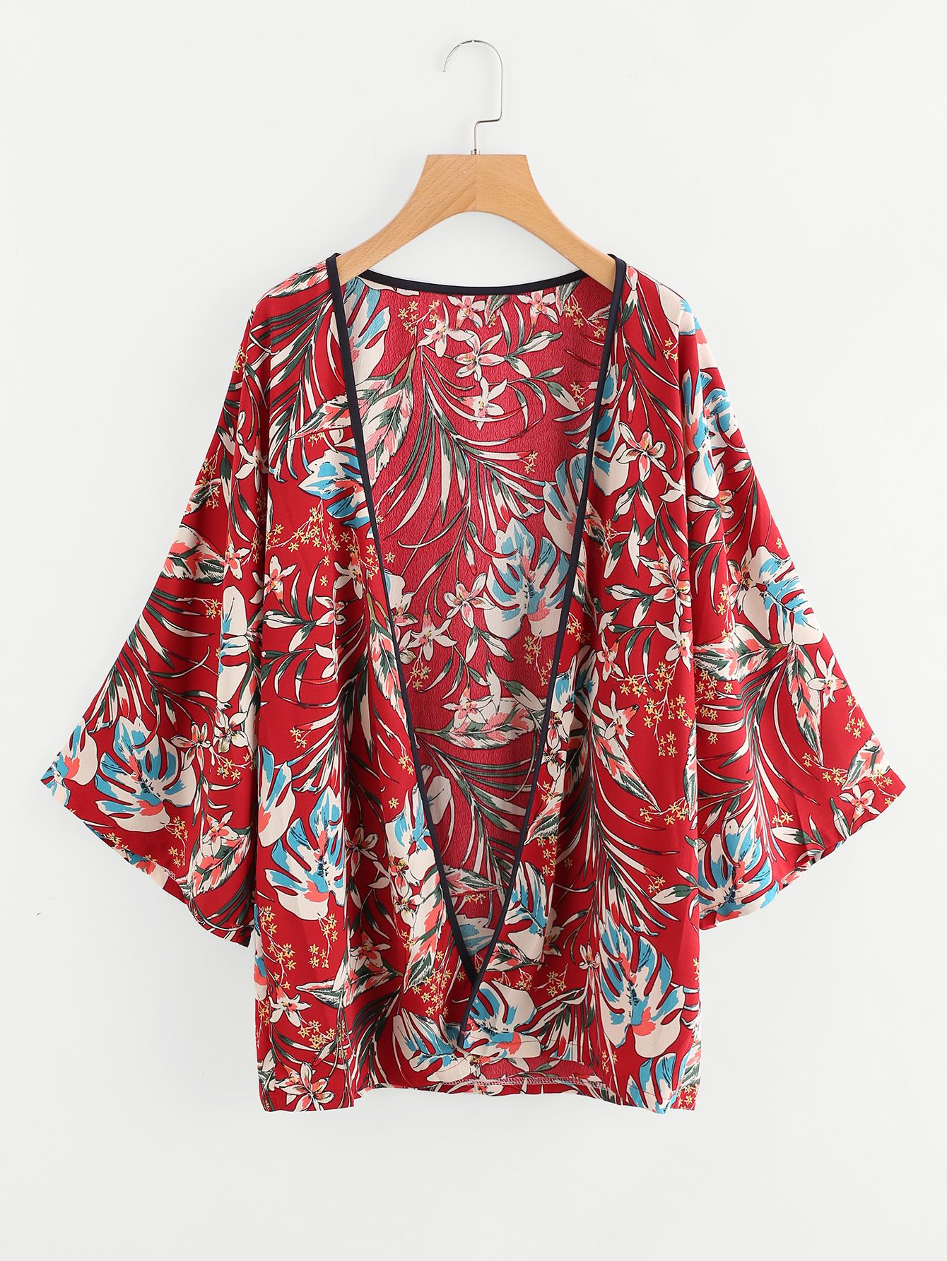 89fcb88e4e Shop Contrast Trim Botanical Print Kimono online. SheIn offers Contrast  Trim Botanical Print Kimono & more to fit your fashionable needs.