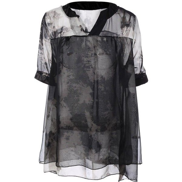 Summer Ink Painting Print Chiffon Blouse (295 ARS) ❤ liked on Polyvore featuring tops, blouses, rosegal, chiffon tops, print blouse, chiffon blouse, patterned tops and summer tops