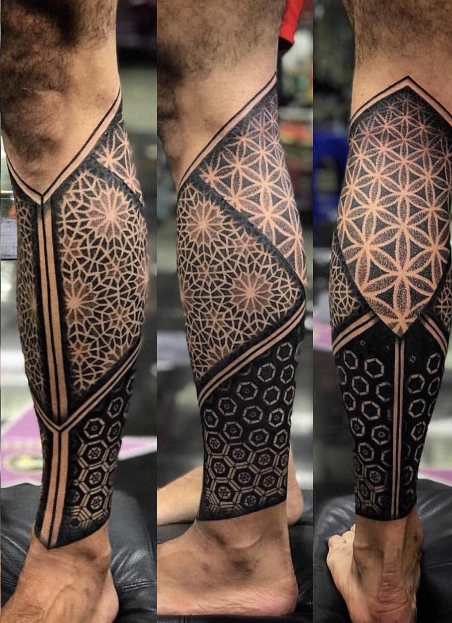 My Latest Tattoo Done By Chat Celebrity Ink Tattoo Phuket Thailand Geometric Tattoos Men Leg Tattoos Leg Tattoo Men