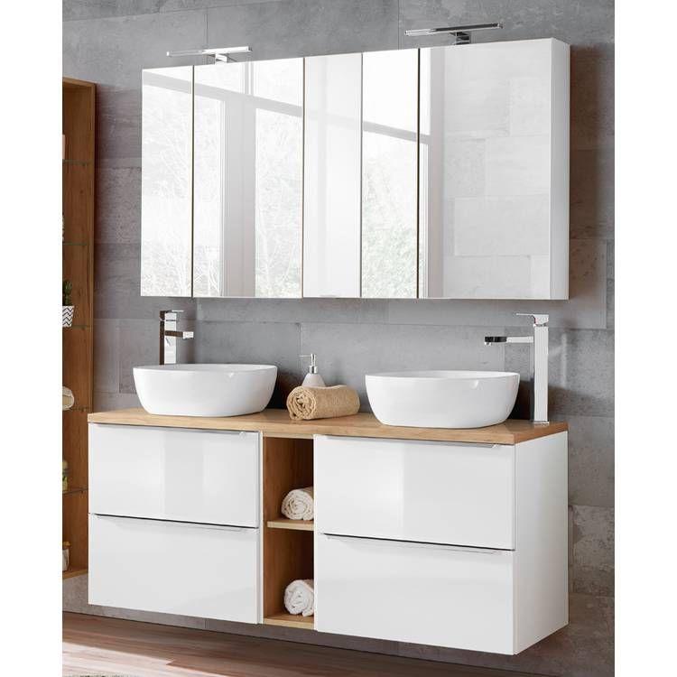 Badmöbel Set mit 2 Keramik Aufsatzwaschbecken und 2 Spiegelschränken T   Aufsatzwaschbecken ...