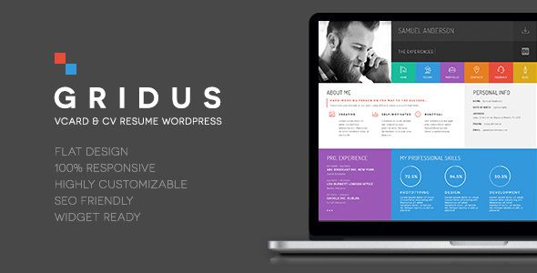Resume Portfolio \ CV vCard - Gridus Wordpress - wordpress resume themes