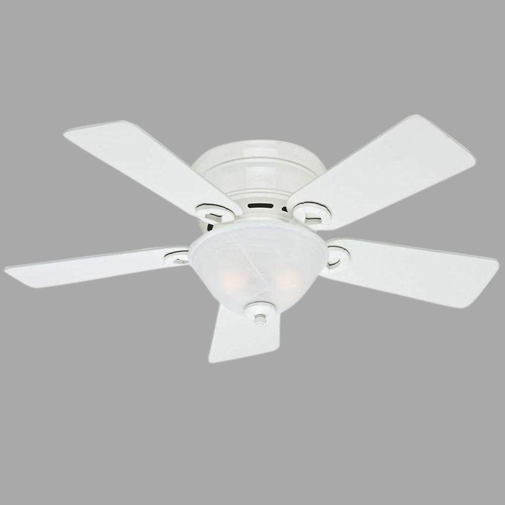 Hunter Conroy 42 In Indoor White Low Profile Ceiling Fan With Light Kit