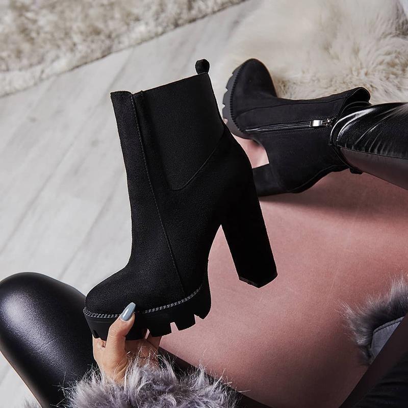 Stylish Velvet Chunky High Heel Boots 1