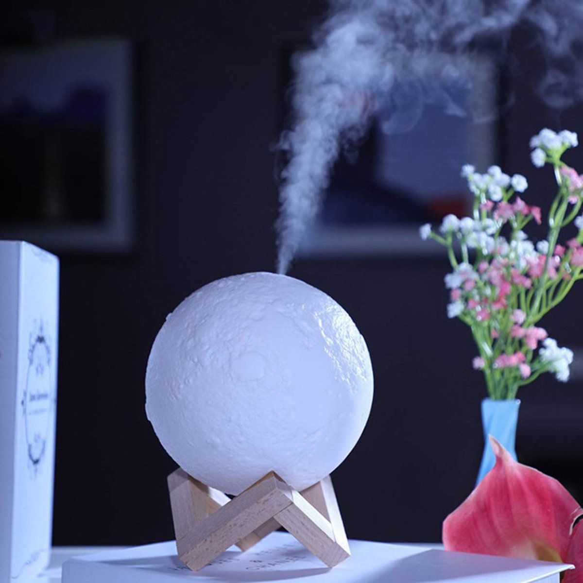 Air Humidifier,Cool Mist Humidif,880ML Ultrasonic Moon Air Humidifier Aroma Essential Oil Diffuser with LED Night Lamp USB Mist Maker