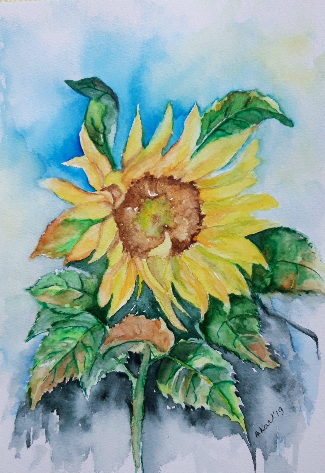 Pin Von Aranka Karl Auf Meine Aquarelle Aquarell Sonnenblumen