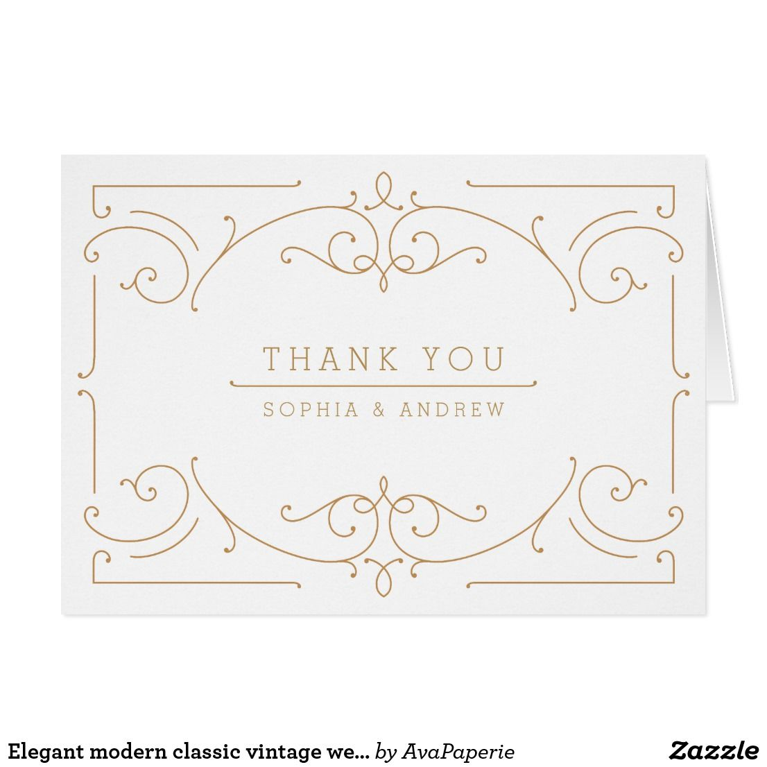Elegant Modern Classic Vintage Wedding Thank You Zazzle Com Wedding Thank You Wedding Thank You Cards Vintage Wedding