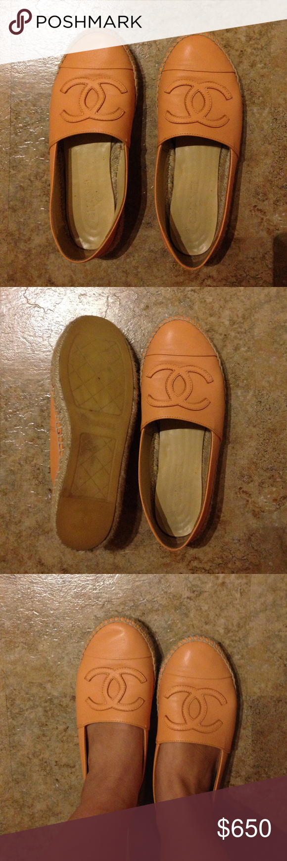 Chanel light orange espadrilles lambskin leather A little worn, super comfortable espadrilles. CHANEL Shoes Espadrilles