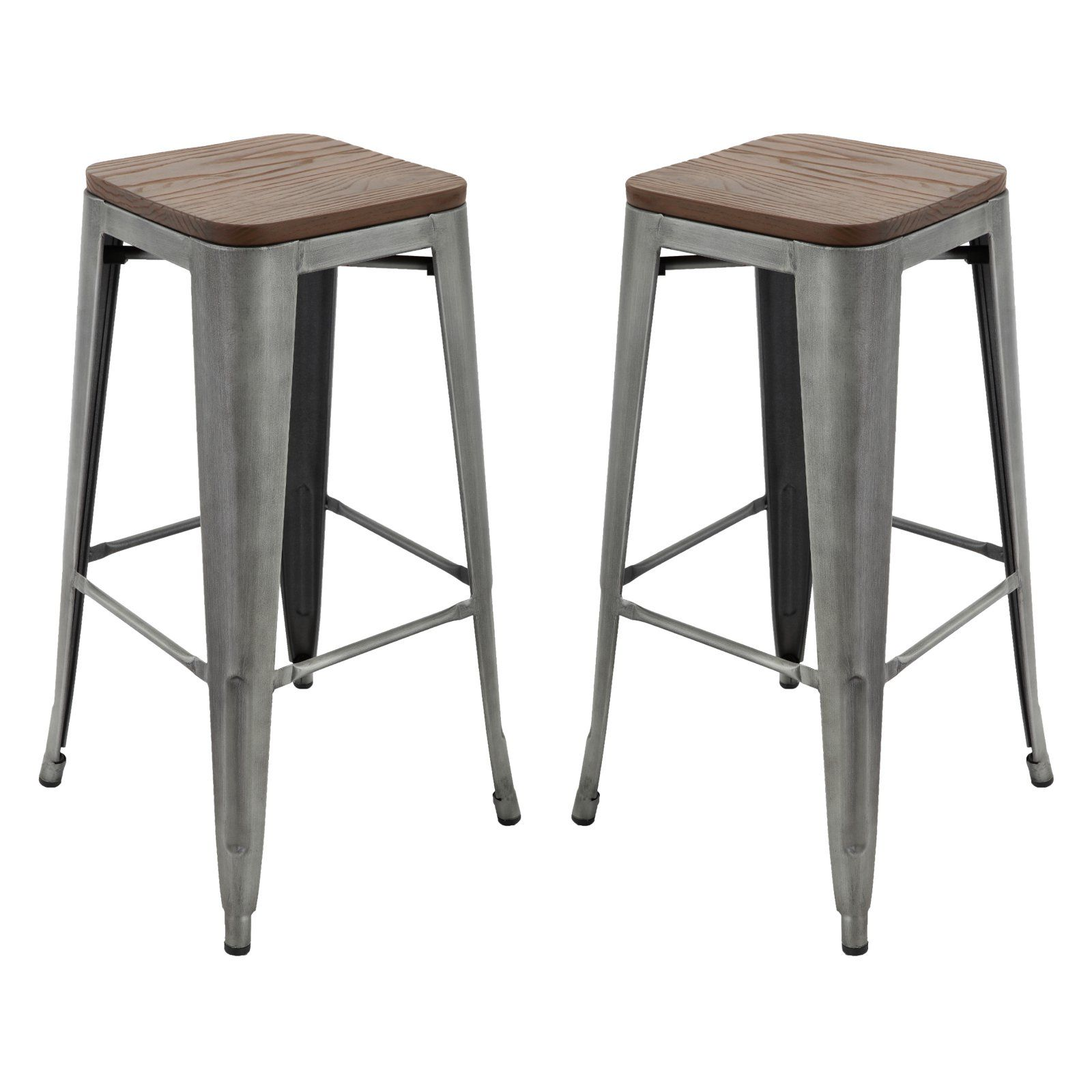 Brage Living 30 In Stackable Backless Metal Bar Stool With Wood