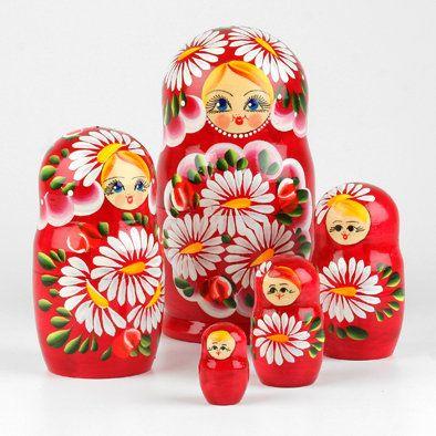 Matryoshka Wooden Nesting Stacking Dolls Handmade Flowers Design 7pc