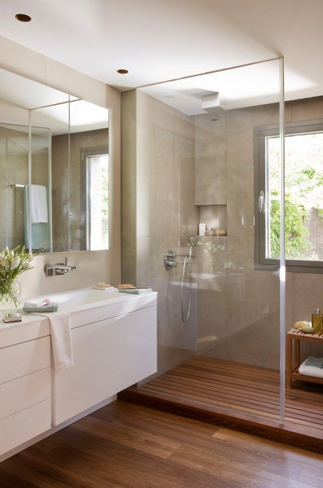 moderne-badgestaltung-glas-dusche-abtrennung-boden-holz Bathroom - holzverkleidung haus fussboden ideen decke