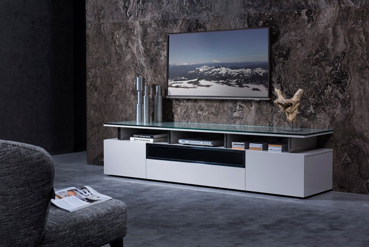 Grey Lacquer Living Room Tv Stand With Glass Top Tv Stand Decor