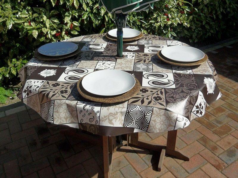 Outdoor Vinyl Patio Tablecloth With Umbrella Hole Umbrellas On Home Design