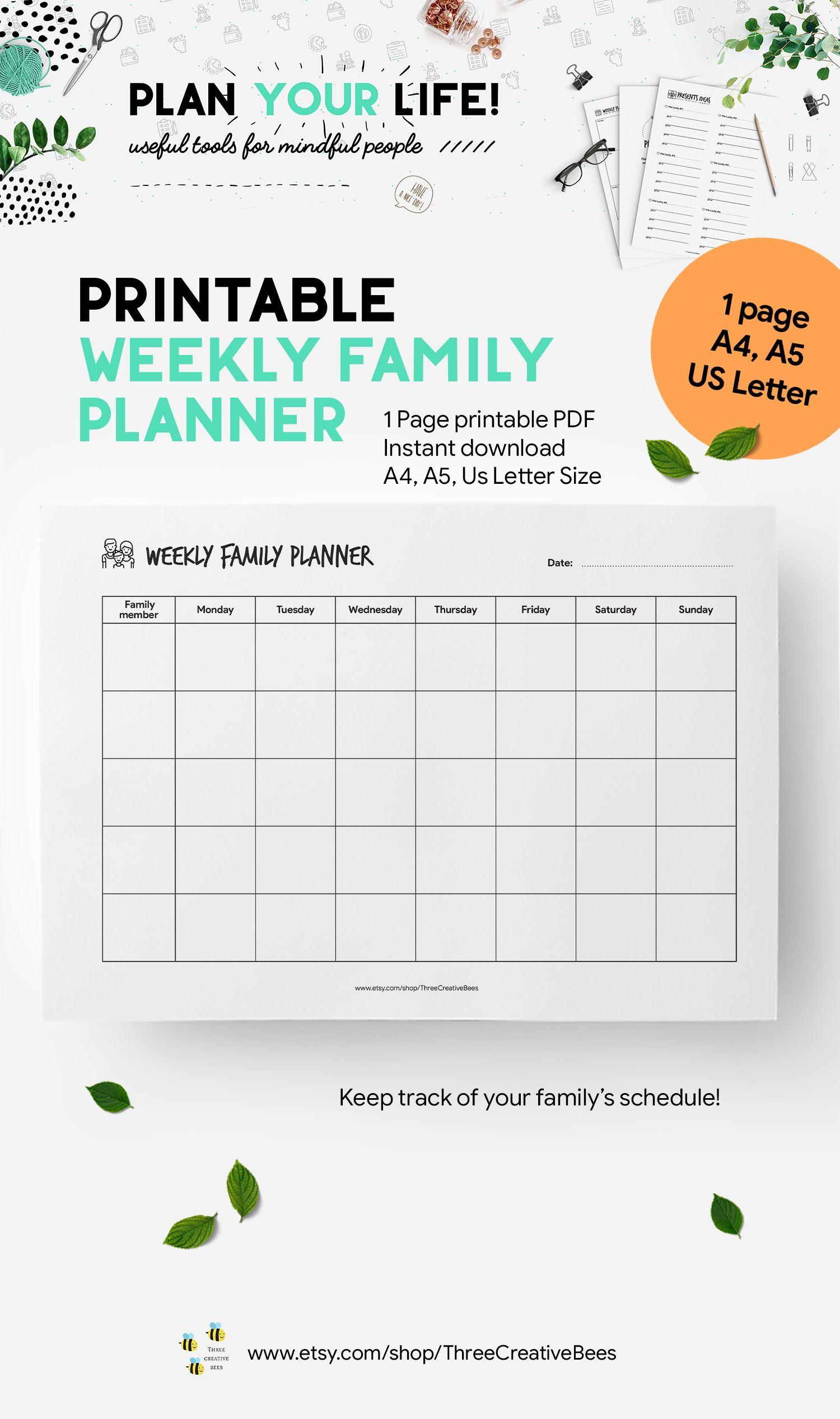 Calendario Flylady.Printable Weekly Family Planner Weekly Family Calendar