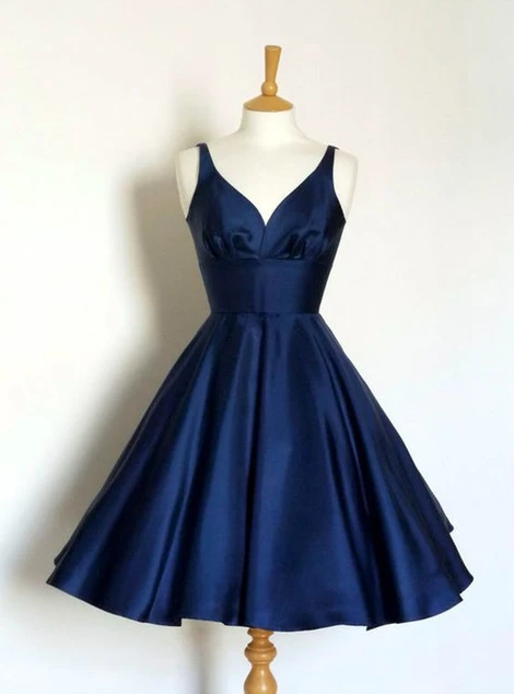 Navy blue Short Fashion Party Dress V neck A Line Dress Backless Homecoming Dresses cg8102