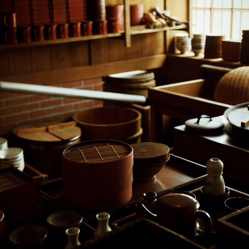 Japanese Kitchen. Bamboo Steamer台所…