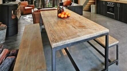 Custom Steel And Reclaimed Wood Table 1 500 00 Via Etsy With