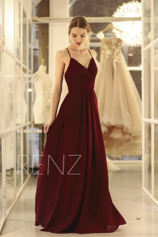 351aa745b38ed Bridesmaid Dress Wine Chiffon DressWedding DressSpaghetti   Etsy ...