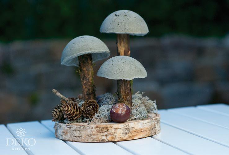 diy coole herbstdeko mit pilzen aus beton deko kitchen deko pinterest diy autumn und. Black Bedroom Furniture Sets. Home Design Ideas