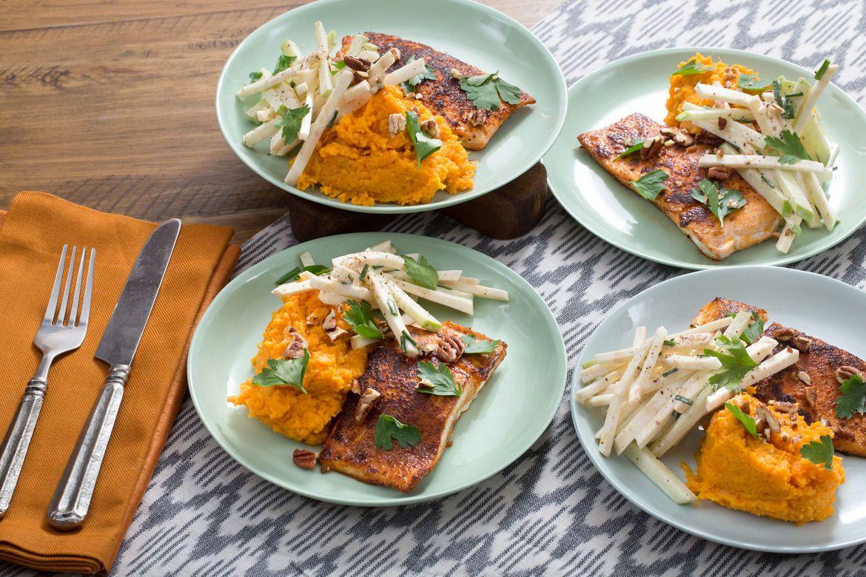 BBQ Salmon & Mashed Sweet Potatoes with Celeriac-Apple ...