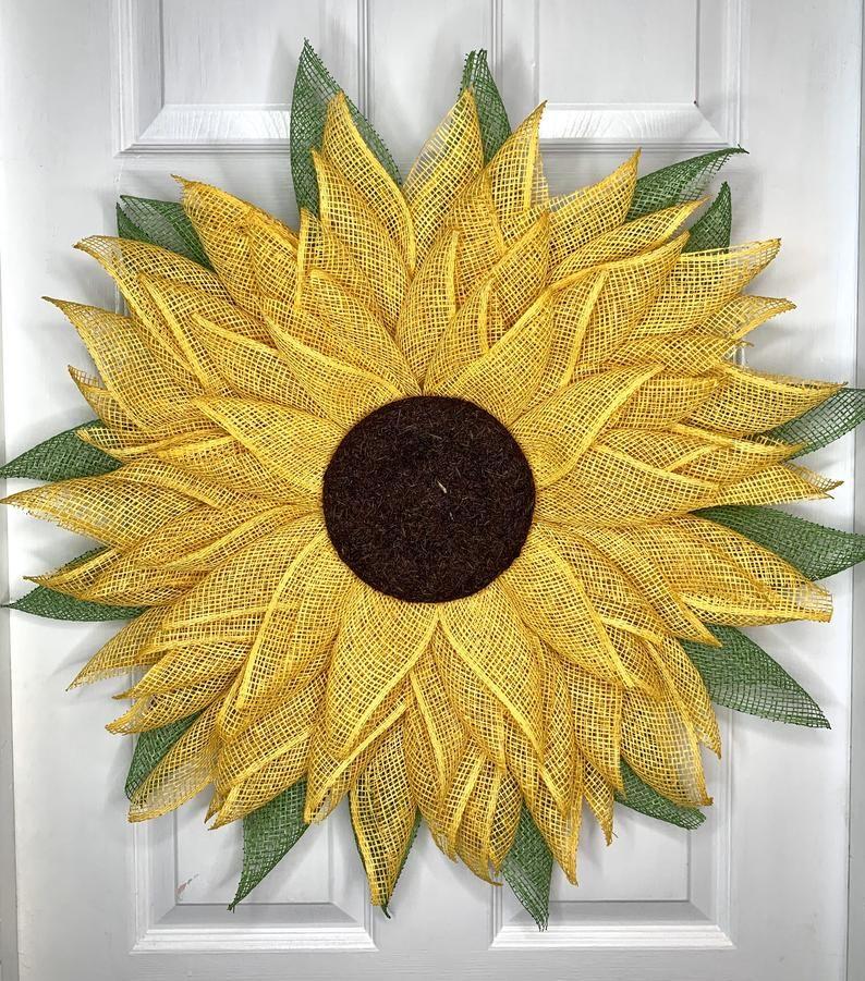 Photo of Sunflower Wreath, Sunflower Wreath for front door, Floral Door Hanger, Flower Door Decor, Flower Door Hanger, Sunflower Door Decor