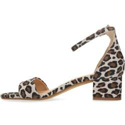 Photo of Suede leather heeled sandals with leopard pattern (36,37,38,39,40,41,42) Manfield