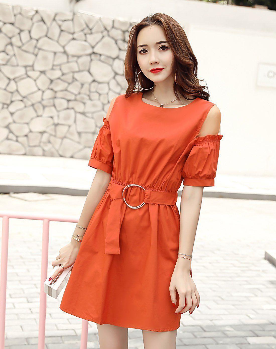 Red round neck short sleeve high waist length a line dress
