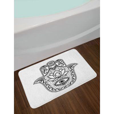 Plush Bathroom Decor Mat with Non Slip Backing Damask Pattern Monochromic Artsy Classic European Venetian Style Flourishes Art 29.5 W X 17.5 W Inches Black White Lunarable Damask Bath Mat