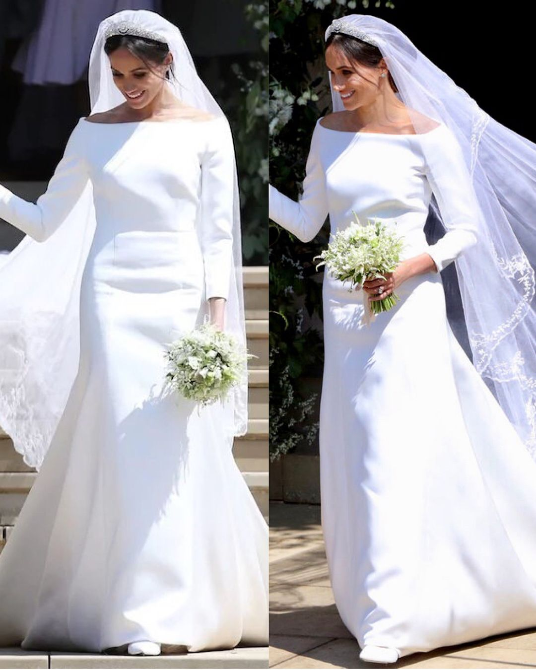 the duchess of sussex s wedding dress meghan looked radiant in a dress by british designer clare royal wedding gowns wedding dresses harry and meghan wedding pinterest
