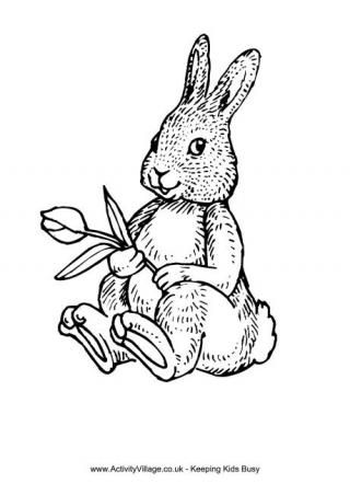 Rabbit and Tulip Colouring Page Easter printables Colouring