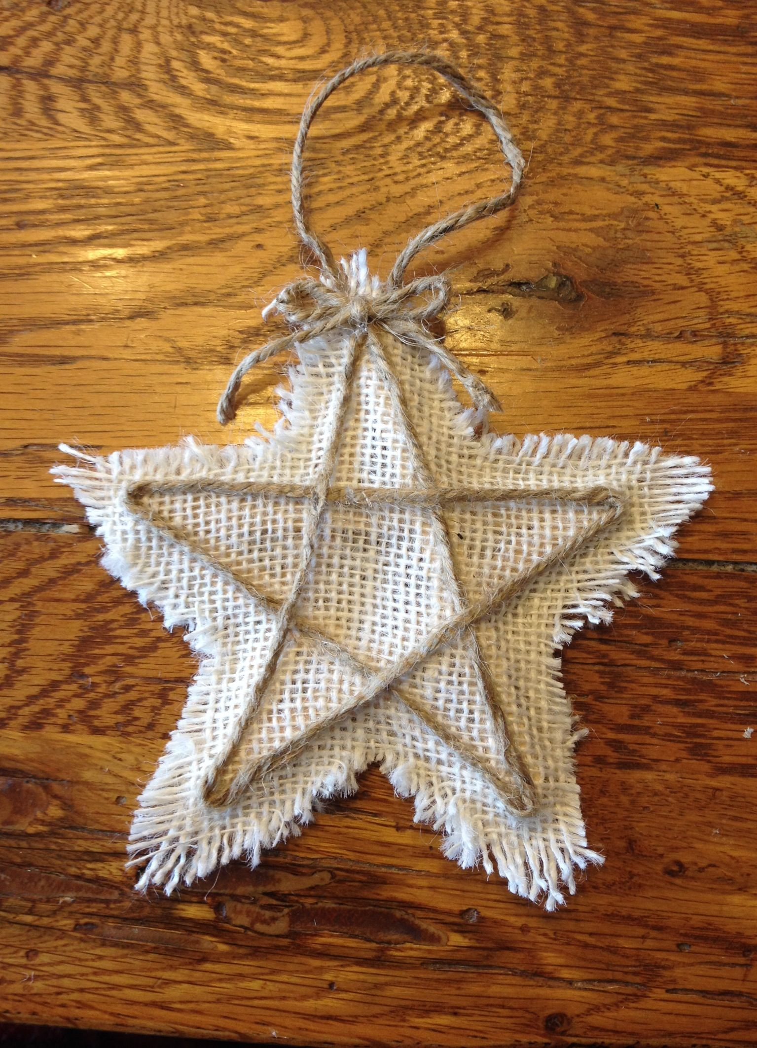 Burlap Star Made with craft sticks, burlap, and jute twine ...