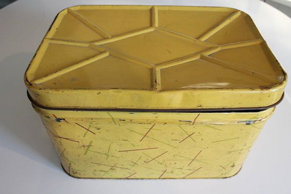 Vintage Large Metal Bread Box with Red Green & Blue by PeggysTrove, $35.00