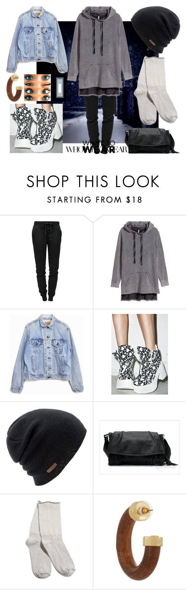 """""""Who?"""" by droffashion ❤ liked on Polyvore featuring T By Alexander Wang, Levi's, Maria ke Fisherman, Coal, 59th Street, Kenneth Jay Lane and WhatToWear"""