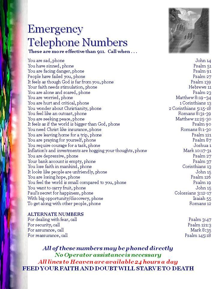 Bible emergency numbers   words to live by   Bible emergency